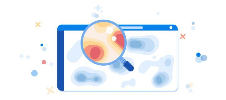 A heatmap for a website magnified